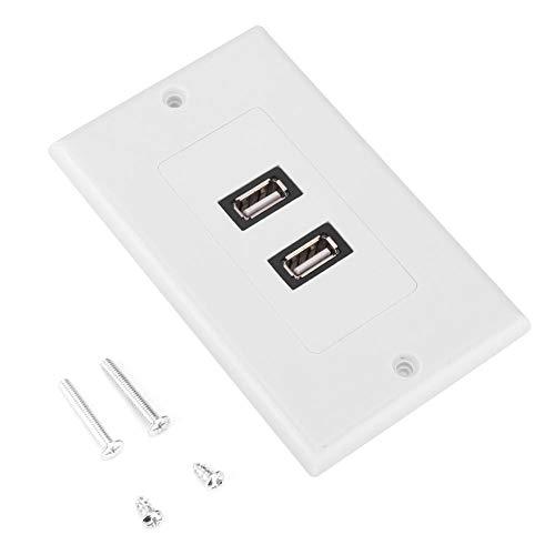 Dual USB 2.0 Keystone Placa de Pared Panel Montaje en Pared Cargador de alimentación USB Outle con Enchufe y Placa Frontal Cove White