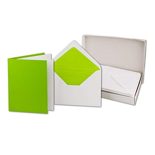 Parent - Set vouwkaarten DIN B6 12 x 17 cm gekleurde zijden voering natte kleefing - met doos 50 Karten-Sets 24, lichtgroen
