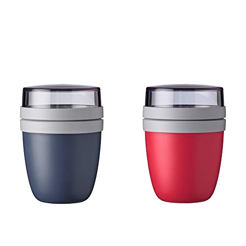 Mepal Lunchpot Ellipse Mini 2-er Set Lunchbox Essensbehälter (Nordic Denim + Nordic red)