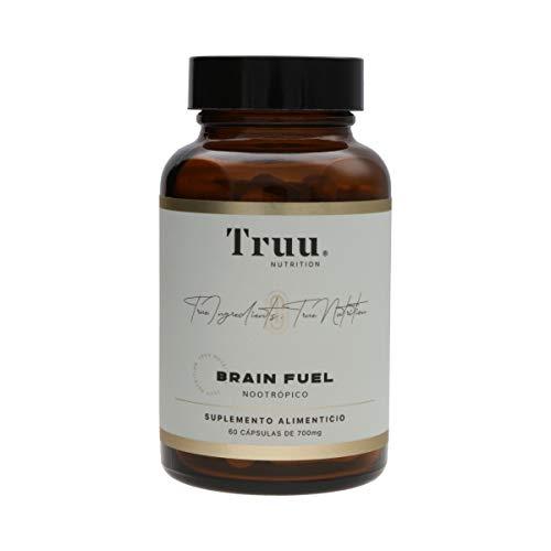 TRUU NUTRITION | BRAIN FUEL | NOOTRÓPICO, CONCENTRACIÓN Y MEMORIA | 30 Porciones de Cápsulas Veganas | Bacopin, Cúrcuma, Fosfatidilserina, Leucina, Melena de León, Pimienta Negra, Resveratrol, Antioxidantes y Vitamina B6 | Suplemento Premium 100 % Natural