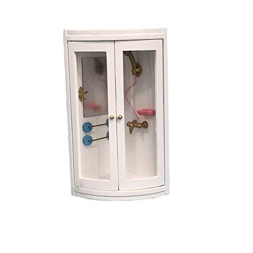 ypypiaol 1/12 Mini Simulierte Duschkabine Badezimmer Modell DIY Puppenhaus Dekor Zubehör Prop Weiß