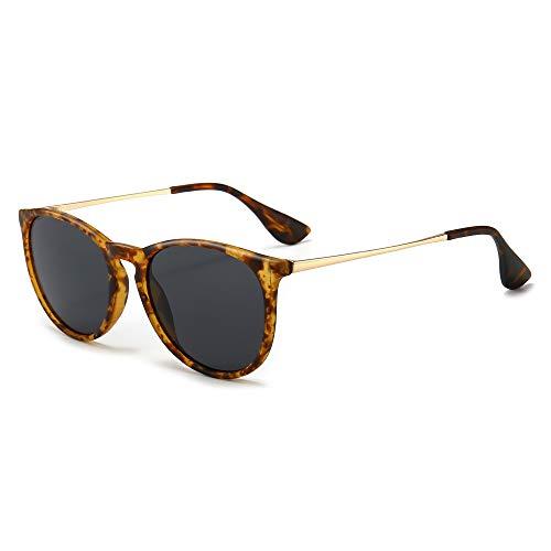 SUNGAIT Gafas de Sol Polarizadas Mujer Hombre Retro Redondas Unisex UV400 Proteccion(Marco Ámbar/Lente Gris)-SGT567