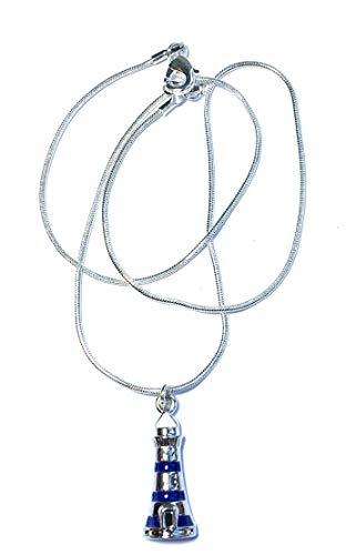 Collar de Cadena de la Serpiente Chapado en FizzyButton Regalos de Plata con Esmalte Encanto Faro, en Caja de Regalo de Color Turquesa