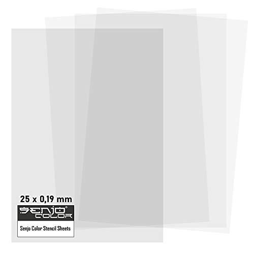 Senjo Color Schablonenfolie I 25 x DIN A4, 0,19 mm I Halbtransparente Folie zum Schneiden mit Cutter, Laser, Stencilburner und Plotter I Airbrush-Folie