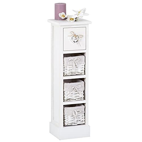 CARO-Möbel Blumenregal Flower Schubladenregal Standregal in weiß mit 1 Schublade und 3 Körben