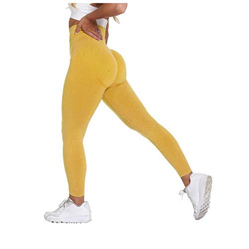 Womteam Leggings sin costuras para mujer, cintura alta, gimnasio, levantamiento de caderas, deportes, fitness, correr, pantalones de yoga de cintura alta