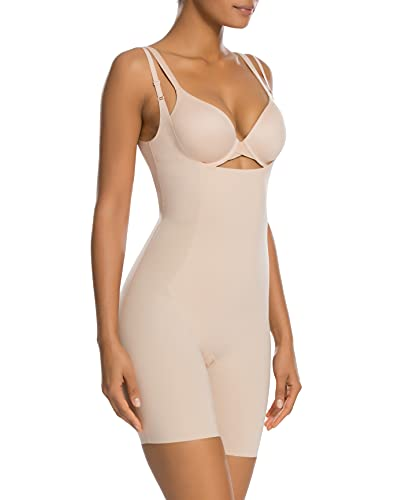 SPANX Shapewear for Women Thinstincts 1.0 Open-Bust Mid-Thigh Bodysuit (Regular and Plus Sizes) Soft Nude MD One Size