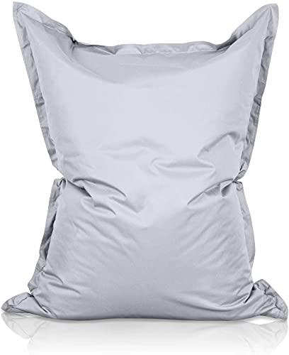 Lumaland - Giant Bean Bag Chair - 140x180 cm - Water Resistant Outdoor Garden Bean Bag - Indoor living room gamer bean bag floor cushion lounger - Silver Grey