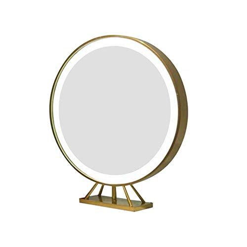 Miroir de Maquillage ins Salon de Coiffure Salon de Coiffure Miroir LED avec Miroir de Maquillage Chambre Lumineuse Miroir de beauté Rond