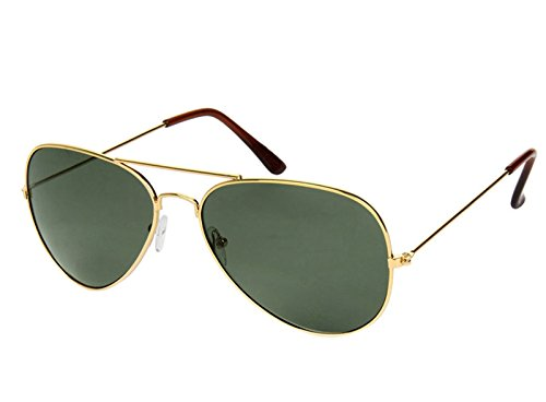 Gansta UV Protected Aviator Sunglasses for Men Women (3002-G15-Gold|58|Green)