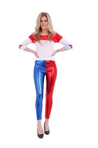 CRAZY CHICK® Dames Meisjes Rood & Blauw Metallic Leggings Halloween Kostuum Feestaccessoires