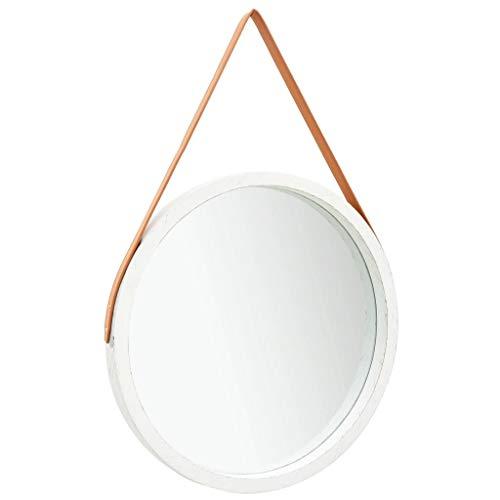 pedkit Espejo de Pared con Correa Espejo Pared Decorativo Redondo para Dormitorio Baño Blanco 60 cm