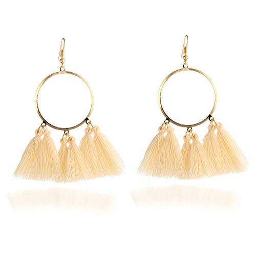 honnhoy Pendientes Decorativos para los oídos Pendientes Largos con borlas Pendientes Largos para Mujer Joyas de Boda Regalos para Mujeres niñas @ Beige