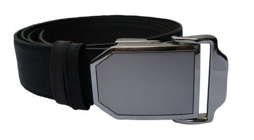 Cinturón de piel Drop, longitud ajustable hasta 150 cm, cinturón reversible (negro/marrón) Modelo Platino Talla única