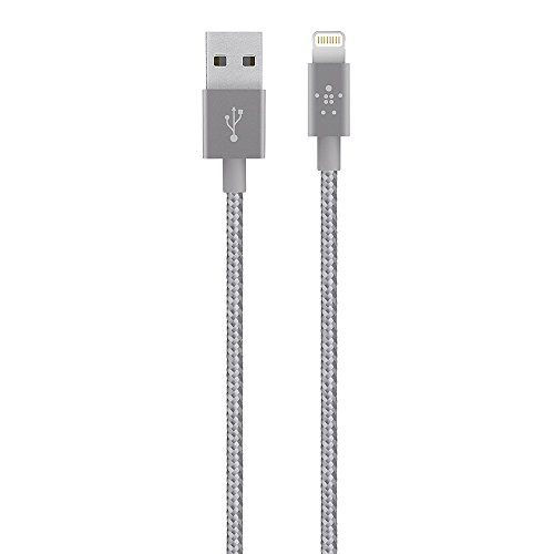 Belkin Metallic Lightning to USB Cable - MFi-Certified iPhone Charging Cable for iPhone Xs, XS Max, XR, X, 8/8 Plus and More (6-inches), Gray