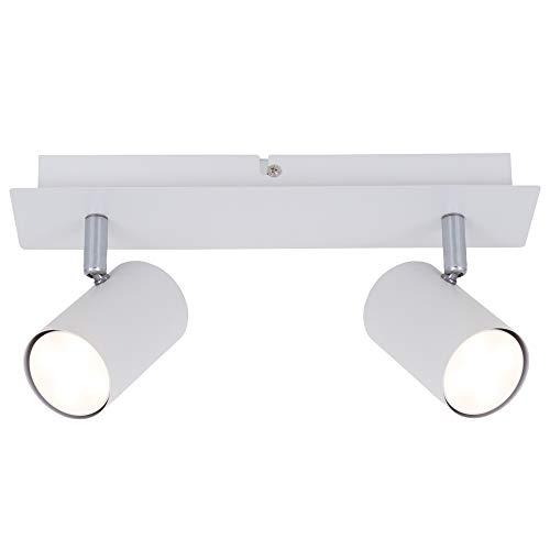 Briloner Leuchten - Plafoniera LED da soffitto con 2 faretti orientabili, adatta per lampadine GU10 da max. 40 Watt non incluse, Lampada da soffitto moderna per cucina o salotto, Metallo bianco