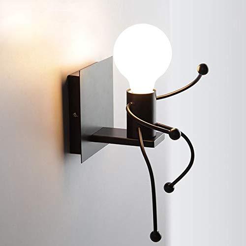 RAQ dubbele kop moderne binnenwandlamp creatieve persoonlijkheid nachtkastje gang metaal hanglamp voor kamerdecoratie Single Head Black