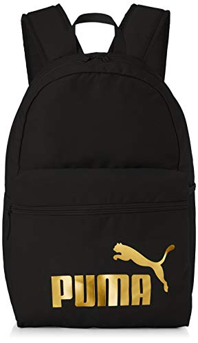 PUMA Phase Backpack Rucksack, Black-Golden Logo, OSFA