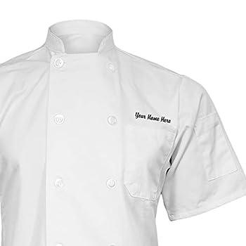 ChefsCloset Personalized White Embroidered Short Sleeve Chef Coat Customized Chef Jacket XXX-Large