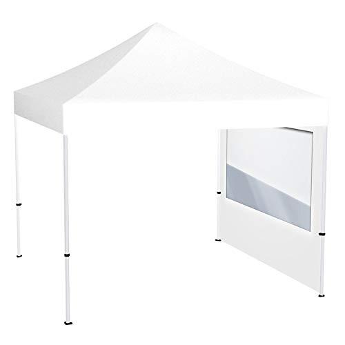 Vispronet® Faltpavillon Eco 3x3 m ✓ 1 Zeltwand mit Panoramafenster ✓ Scherengittersystem ✓ inkl. Dach mit Volant (Weiß)