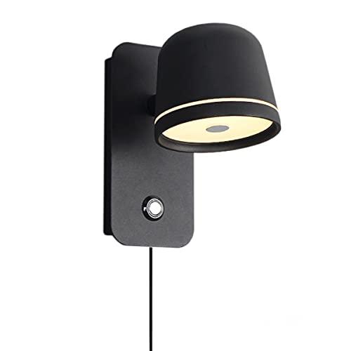 ACMHNC 5W LED Lámpara de Pared Interior Con Interruptor,Apliques de Pared Regulable Con Enchufe y Cable,Ajustable 350 °, Apliques de Lectura Moderna Tacto,Para Dormitorio Aluminio, 3000-6000K,Negro