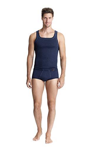 con-ta Thermo Unterhemd, Unterziehshirt für Herren, Muskelshirt mit natürlicher Baumwolle, wärmende Unterwäsche für Männer, Marine Melange, Größe: 7