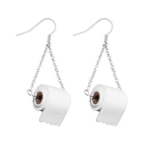 Neuheit Ohrringe für Damen Toilettenpapier Rollenform Anhänger Drop Dangle Ohrringe Lustige einfache Haken Ohrring Damen Mädchen Persönlichkeit Charme Schmuck Geschenk