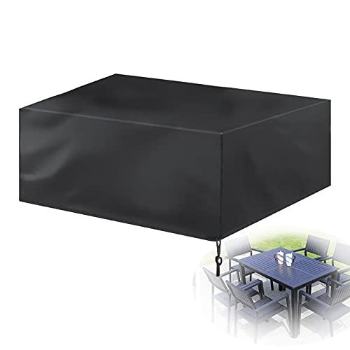 KUAIE Funda Muebles Jardin Impermeabl Funda para Mesa y Silla Rectangular Resistente Desgarro Funda Sofá Jardín a Prueba Viento, Negro (Color : Negro, Size : 205×104×71cm)