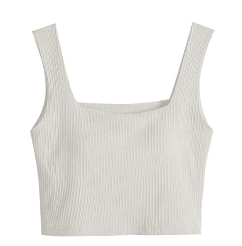 XJS Top Corto Camisetas Sin Mangas para Mujer Bra Bra-Top Elástico Elástico Modal Twill Chaleco Camisoles Camis Cuadrado Cuello Sin Mangas Sexy Casual Femenino para Mujeres