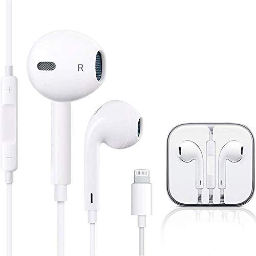 In-Ear Kopfhörer für iPhone 7 HiFi-Audio Stereo Kopfhörer Ohrhörer, mit Mikrofon und Lautstärkeregler, kompatibel mit iPhone 7Plus/ 8/8Plus/X/XS Max/11/11Pro, unterstützt alle iOS Systeme-Weiß