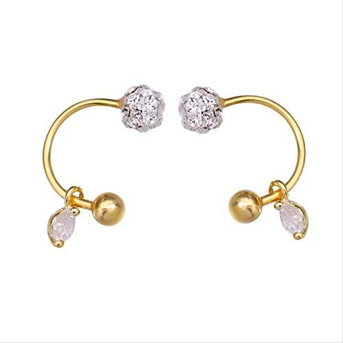 Pure zilveren oorbellen vrouwen nieuwe ronde van gebogen maan oor nagels eenvoudige boor bal kraal schroef bocht haak oor bot nagel geschenk