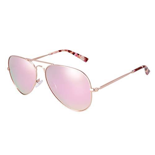fawova Gafas Sol Aviador Mujer Polarizadas,Rosa Verde Reflejado con Montura de Metal...