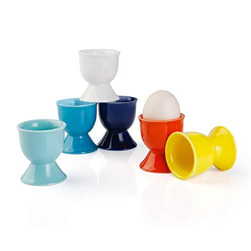 Sweese 805.002 6er Eierbecher Set aus Porzellan, Eierstnder für Jeden Frühstückstisch, 5 x 5 x 4 cm, Bunte Serie