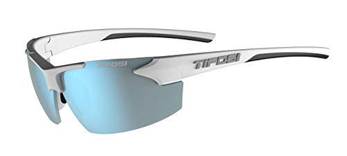 Tifosi Optics Track Sunglasses (White/Black, Smoke Bright Blue)