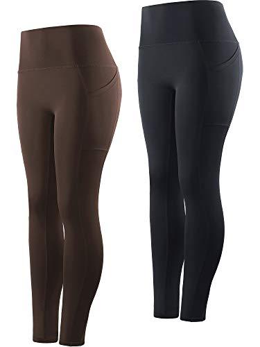 Cadmus Womens High Waist Workout Yoga Leggings,Balck & Brown,3048,X-Large