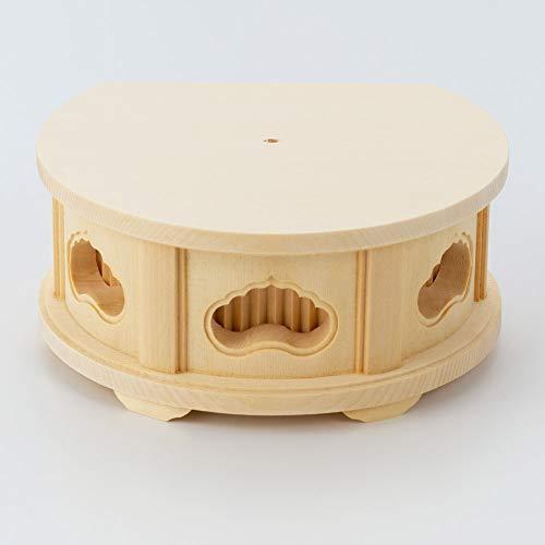 【お仏壇のはせがわ】 箱台 箱台 丸型 白木 透し入 小 仏像台