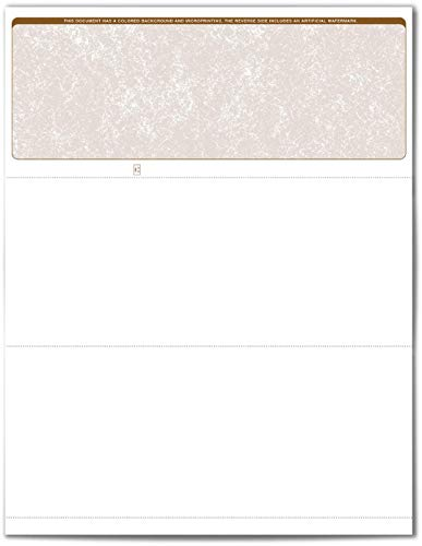 VersaCheck ValueChex Blank Check Paper - Form #1000 Business Voucher Check on Top - Tan - Classic - 500 Sheets/500 Checks …
