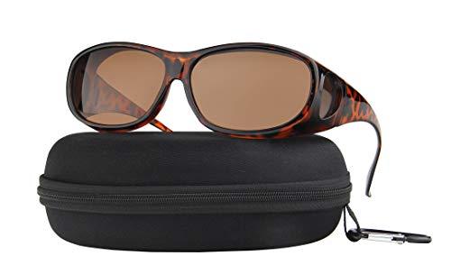 Fit Over Sunglasses Polarized Lens Case Included Wear Over Prescription Eyeglasses 100% UV Protection for Men and Women Brown Lens