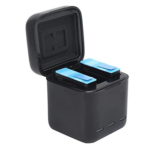 Sxhlseller Cargador de Batería Triple con Indicador LED de Almacenamiento con Estuche Retráctil, 3 Baterías Y 2 Tarjetas de Memoria para Cámara Deportiva Gopro Hero 9, Portátil, 3 X 800 MAh
