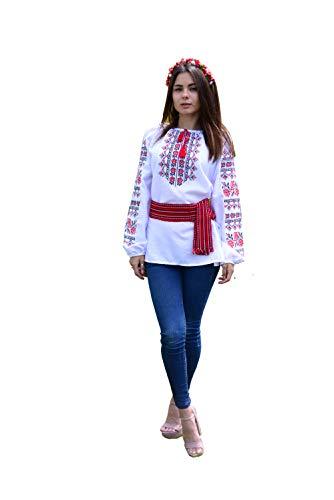 Italienische Folk-Bluse, bestickt, natürliche Baumwolle, traditioneller Ethno-Stil, neu Gr. XXL, weiß