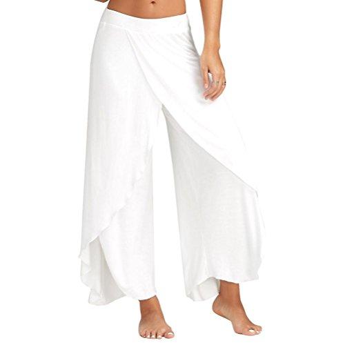 TWBB Yoga Hosen Damen, Mode Sommer einfarbig Lange lose Breites Bein Flowy Hose Beiläufig Knöchellänge Elastische Taille (M, Weiß)