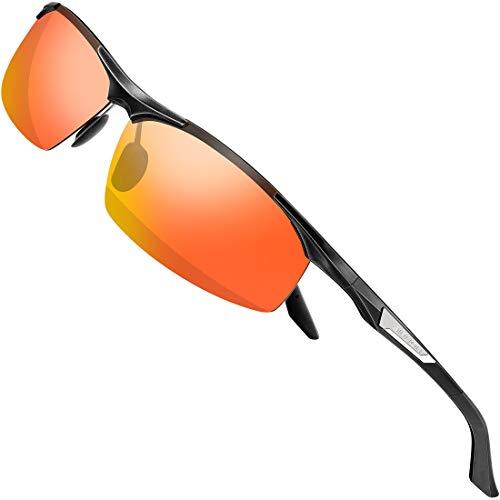 SIPLION Herren Sport Polarisierte Treiber Glasses Sonnenbrillen Al-Mg Metallrahme Ultra leicht 8729 Red
