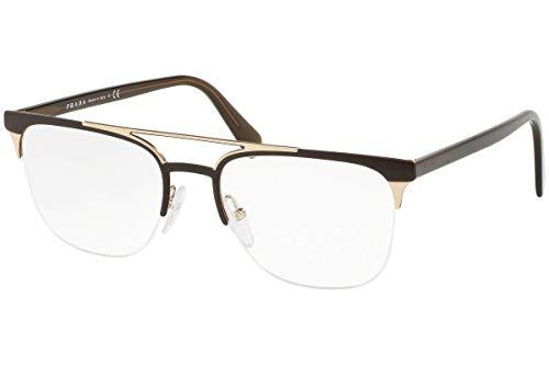 Prada 0PR 63UV Monturas de gafas, Matte Brown/Matte Pale Gold, 54 para Hombre