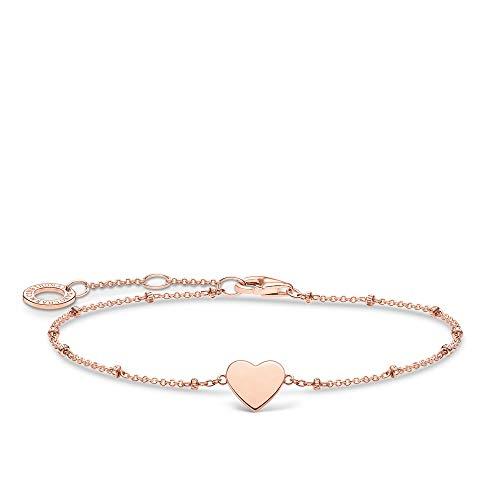 Thomas Sabo Armband Herz mit Kugel roségold, 925 Sterlingsilber, 16-19 cm Länge
