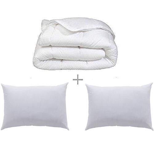 douce nuit Couette Blanche 450GR/M² Fabrication Francaise (Couette 220 x 240 cm + 2 oreillers 50 x 70 cm)