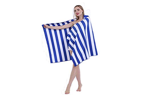 Quick Drying Beach Towels for Travel - Sand Free, Lightweight & Compact Beach towels for kids & adults (Blue/White Stripe, Medium (160 x 80))