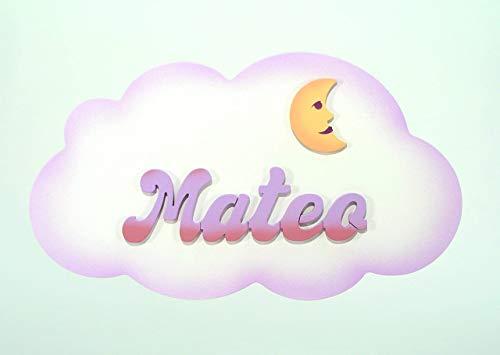 Placa- Cartel personalizado con el nombre en letras de madera, regalo infantil con forma de *nube*, original para decoración de pared o puerta en la habitación.