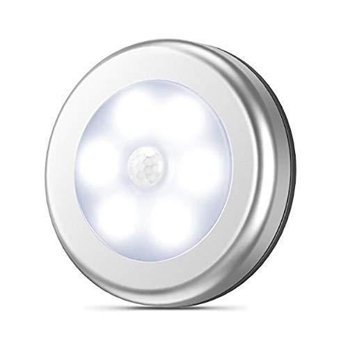 TRQJY Mini Luci Sensore di Movimento, Forma Rotonda Luce di Induzione Bianco Caldo 6 Striscia Magnetica LED E Adesivo di 3M Adatto per La Casa, Cucina