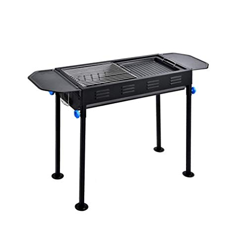 LBSX Durable Outdoor Barbeque & Burger/Charcoal Grill Combo Comes with A Chrome Plated Warming Rack and A Porcelain Heat Plate,3-Burner Grill