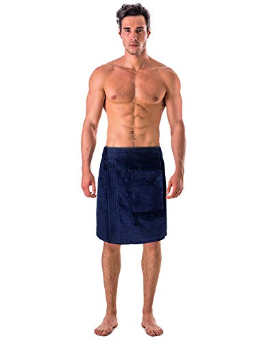 Turkish Linen Men's Velour Cotton Terry Shower and Bath Towel Wrap (One Size) (Black)
